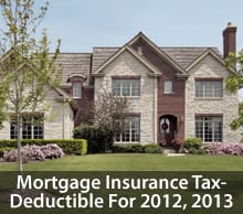 The American Taxpayer Relief Act of 2012 made mortgage insurance tax-deductible for 2013, and retroactive for 2012