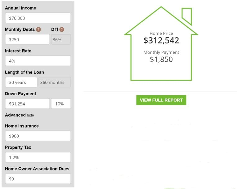 Income Based Mortgage Calculator Image 2a