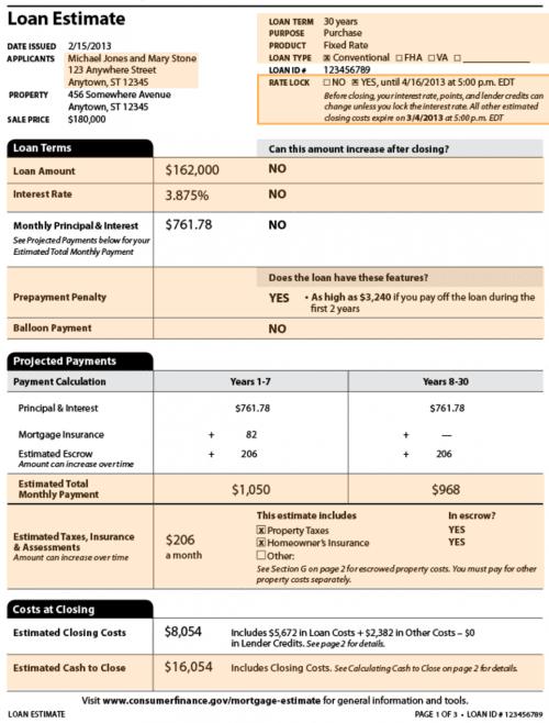 mortgage loan estimate example