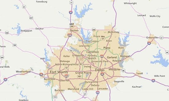 Dallas FW USDA eligible areas sample map