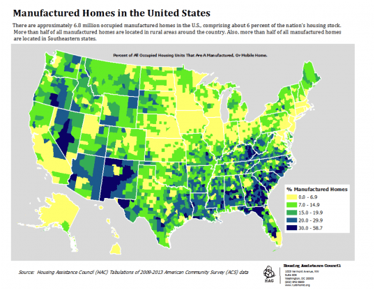 Map of Manufactured Home Density in the U.S.