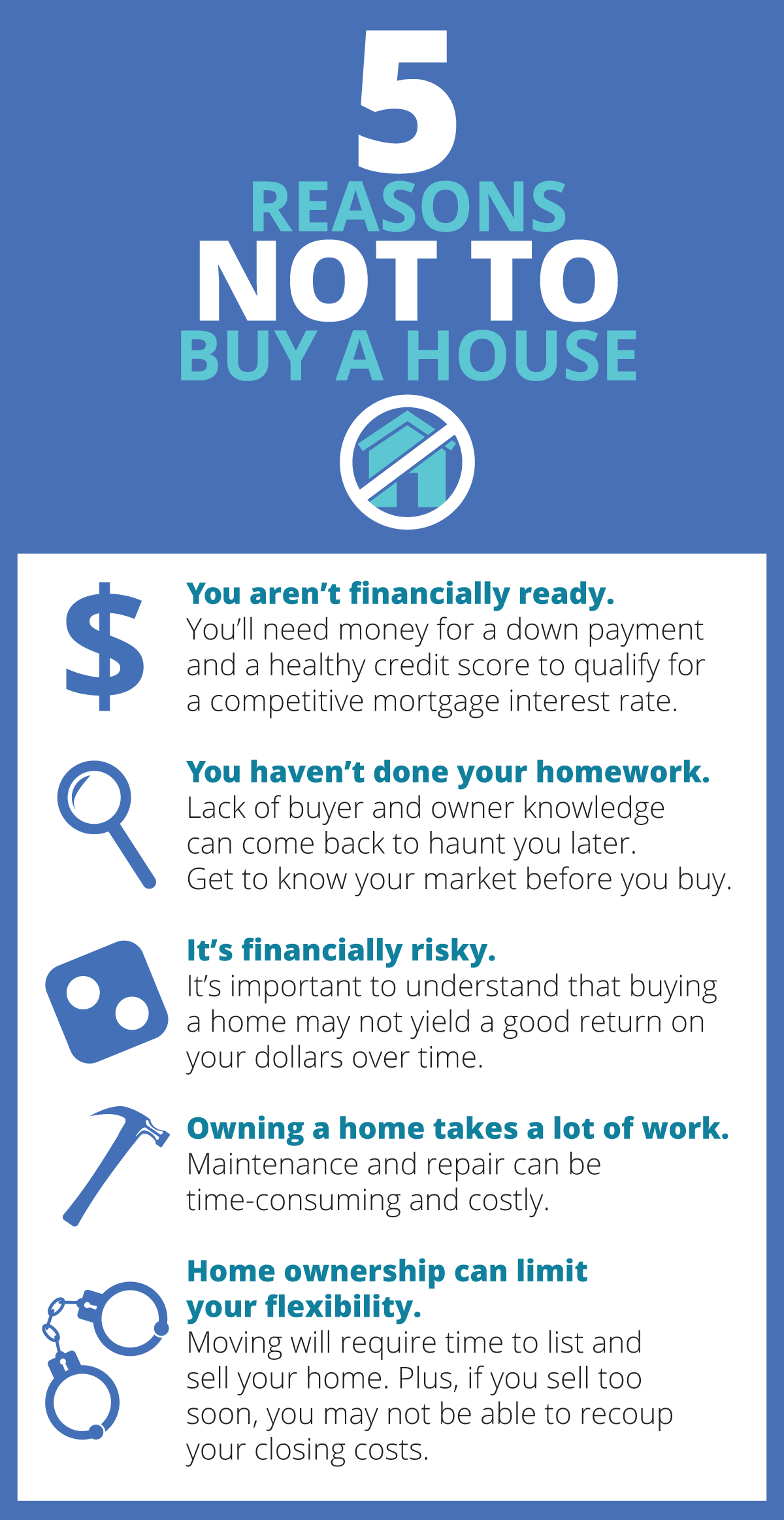 5 reasons not to buy a house