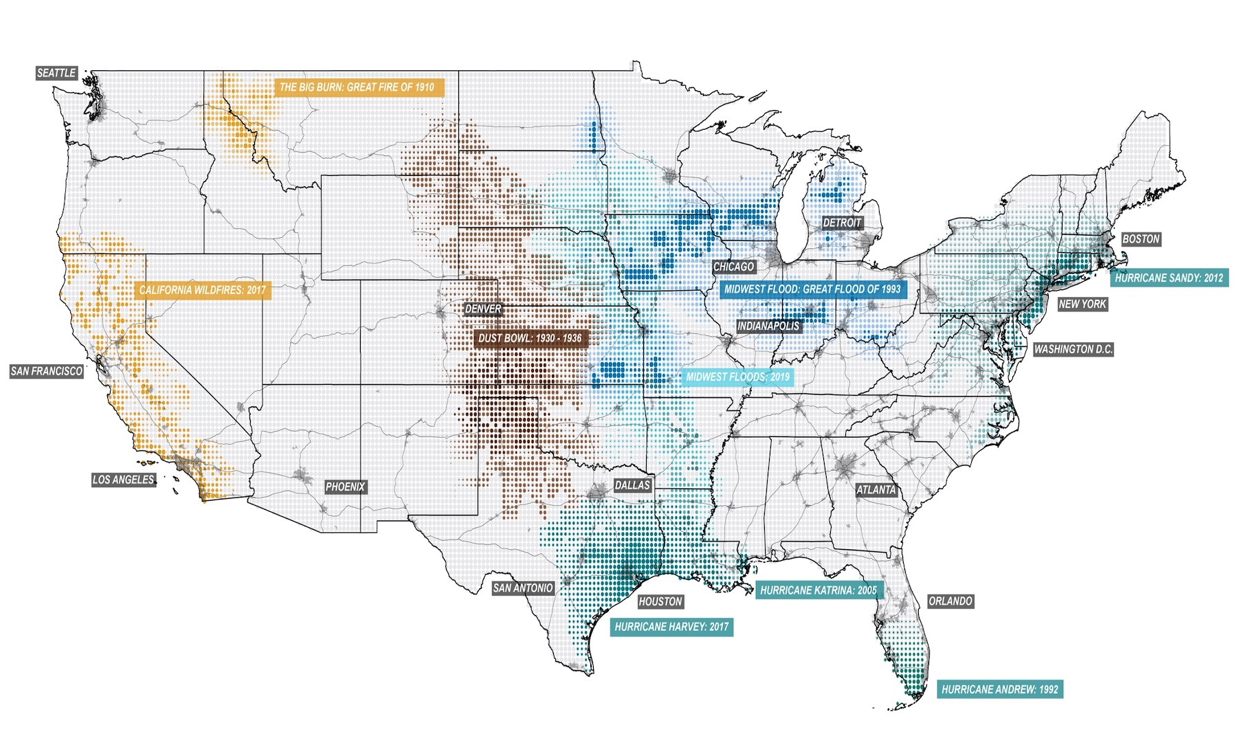 Map showing severe US environmental disasters in recent history from the McHard Center Atlas for a Green New Deal