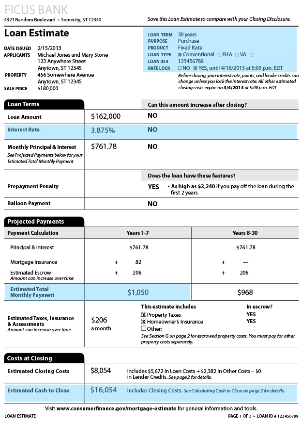 Sample mortgage loan estimate, page one, showing the projected mortgage rate, loan terms, payment, and cash to close