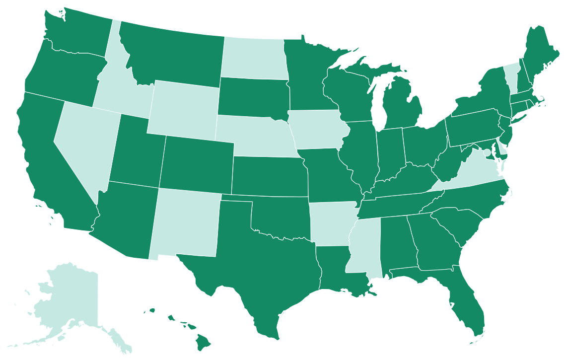 Map showing CrossCountry Mortgage availability. CrossCountry mortgage is available in 50 states with branches in 37 states.