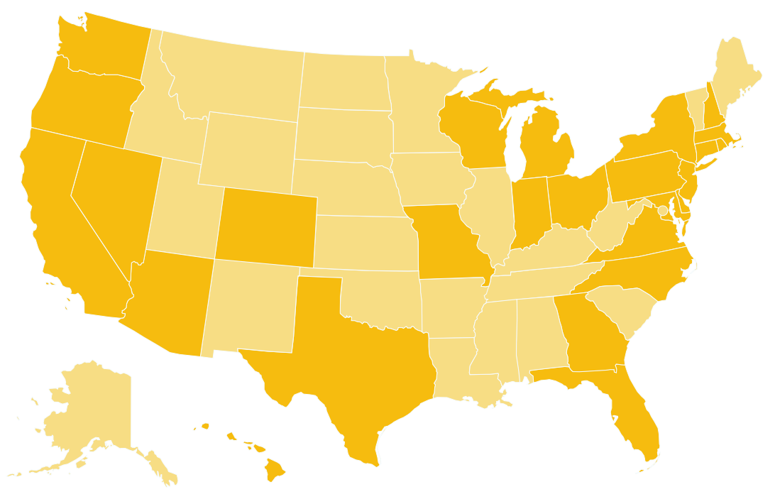 Map showing Freedom Mortgage availability. Freedom lends in all 50 states, and has physical locations in 26 states.