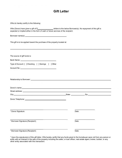 Gift letter template for mortgage down payment gift. For FHA, VA, USDA, conventional loans.